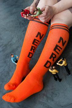 Nerds Rule!  Congratulations Cochran on winning Survivor!  Socks by Sock Dreams » Nerd Knee Highs