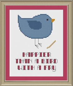 Happier than a bird with a fry: cute cross-stitch pattern. $3.00, via Etsy.