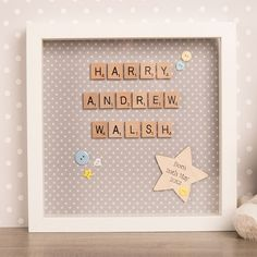 A beautiful gift to celebrate a special occasion. Spell out their name in wooden square tiles mounted on a stunning polka dot material. Shop now!