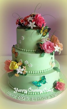 3 tier flower cake for a 80th Birthday!