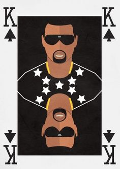 kanye west shows off with his artistic nature, The card shows power as it represents superiority as King is the highest card. Also being presented onto a card could connote his gambling lifestyle and king of the pack( pack meaning the music industry he is focused in e.g. rap).