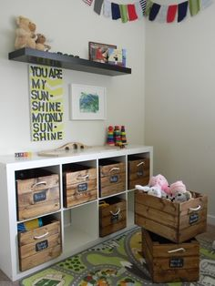 - The answer to finding a space saving home furniture and an affordable one is the wooden storage shed kits. This is perfect for people who enjoy gettin. Diy Toy Storage, Crate Storage, Kids Storage, Toy Storage Furniture, Living Room Toy Storage, Kids Playroom Furniture, Storage Cubes, Playroom Storage, Storage Area