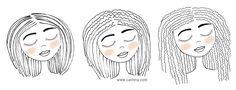 Ilustração e desenho de bonecas cacheadas e crespas. O guia definitivo da transição capilar. Saiba tudo o que você precisa para voltar com seu cabelo natural: dicas, receitas, produtos e muito mais!