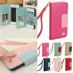 Wallet Card Holder PU Leather Phone Flip Case Cover for Apple iPhone 4 4S 5 5S | eBay