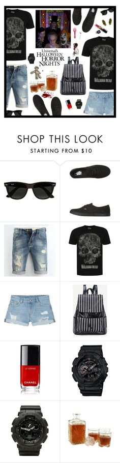 """HALLOWEEN HORROR NIGHTS"" by mimas-style ❤ liked on Polyvore featuring Ray-Ban, Vans, George, Monki, Chanel, G-Shock, men's fashion and menswear"