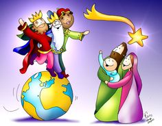 Toda la tierra viene a adorarte Mt 2, 1-12 Jesus Cartoon, Religion Catolica, Summer Art, Christmas Fun, Bowser, Folk, Clip Art, Illustration, Fictional Characters