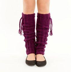 Plum Purple Crochet Tassel Legwarmers by vintagelookcreations