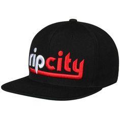 "d18fdf2e2a0 Men s Portland Trail Blazers ""Rip City"" Mitchell   Ness Black Wool Solid 2  Wordmark Adjustable Snapback Hat"