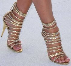 Gold Multi Strap Heeled Sandals