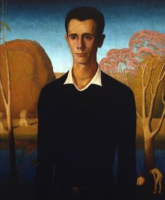 """Grant Wood (American): Oil Painting, """"Arnold Comes of Age (Portrait of Arnold Pyle)"""" [Sheldon Museum of Art, Lincoln, Neb. Harlem Renaissance, Grant Wood Paintings, Iowa, Artist Grants, Queer Art, American Gothic, Magic Realism, Art Deco, National Portrait Gallery"""