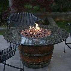 Vin De Flame Reserve Coffee Table Height Fire Pit with Granite Top | from hayneedle.com