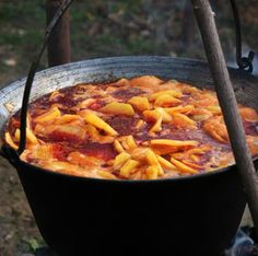 Bogrács, which adds an extra smoky flavour to everything Hungarian Cuisine, Hungarian Recipes, Rustic Food Photography, Native Foods, Goulash, Sweet And Salty, Main Meals, Entrees, Food And Drink