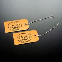Halloween Pumpkins handprinted linocut gift tags #halloween