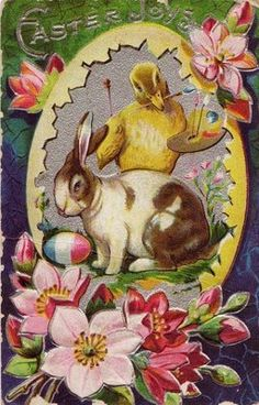 Chick and bunny in egg vignette with flowers
