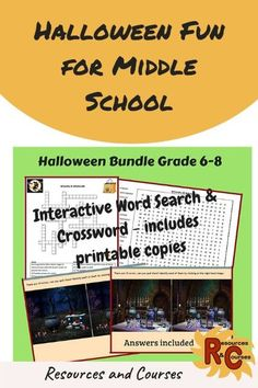 Fun Halloween activities to use as starters, extension activities or just a bit of fun to brighten the day. Suitable for middle school learners in the classroom or homeschooling. #puzzles #printable #interactive #spooky #rescour