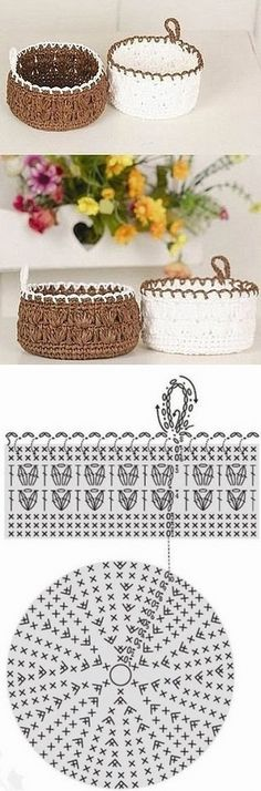 "New Cheap Bags. The location where building and construction meets style, beaded crochet is the act of using beads to decorate crocheted products. ""Crochet"" is derived fro Crochet Bowl, Crochet Basket Pattern, Crochet Diagram, Crochet Chart, Crochet Stitches, Crochet Patterns, Crochet Baskets, Blanket Crochet, Crochet Granny"