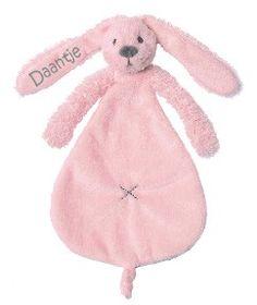 Happy Horse knuffeldoekje Rabit roze met naam
