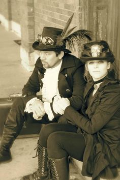 Daryl and I in our Steampunk costumes for Halloween :)