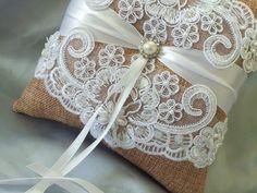 Burlap White Wedding Pillow Elegant White Beaded Alencon Bridal Lace Pearl and Rhinestone Wedding Ring Bearer Pillow White Lace Ring Pillow by Allofyou on Etsy