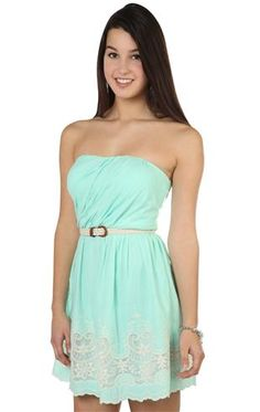 strapless embroidered pleated belted casual dress