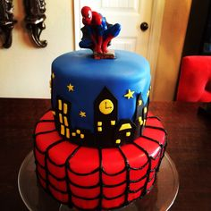 Fondant Spider-Man themed birthday cake.