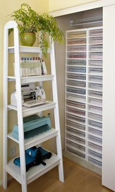 Domestic Divas Fancy: Scrapbooking Organization. I like that shelf idea  for large pieces like laminator and printer