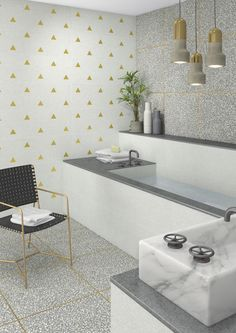 Portofino by Vives Porcelain wall and floor tiles in a terrazzo effect with metallic edges in 4 colours and 4 formats. Frost resistant, suitable for interior and exterior use. www.vives.com