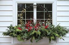 Winter window box with steel ring Christmas Window Boxes, Winter Window Boxes, Christmas Urns, Christmas Planters, Outdoor Christmas Decorations, Rustic Christmas, Winter Christmas, Christmas Wreaths, Christmas Crafts