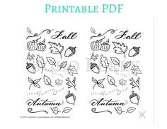 PRINTABLE Fall Doodles Planner Stickers by BohoBerryPaperie