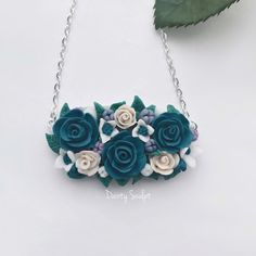 """43 Likes, 1 Comments - @daintysculpt on Instagram: """"#Blue #rose #pendant #handmade #from #polymerclay .. #fimo #elegant #jewellery #sculpted #handcraft…"""""""