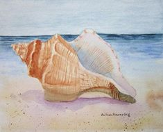 Conch Shell Painting, Conch Shell Watercolor Art, Seashell Painting, Beach Landscape Shell Painting, Home Wall Decor Gift Barbara Rosenzweig