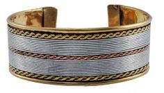 Tibetan Copper Three Metal Filigreed Bracelet, Healing Bracelet Om Tibetan Jewelry. $24.99. Handmade in Nepal. Width: 1 Inch. Filigreed Bracelet. Fully Adjustable Size. Made from Copper, White Metal, and Brass. Tibetans believe that the metal combination has healing power