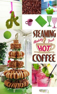 Coffee Bridal Shower Theme ( Perfect for a Starbucks Obsessed Bride! Coffee Bridal Shower, Bridal Shower Gifts, Bridal Showers, Donut Tower, Coffee And Donuts, Coffee Theme, Donut Party, Candy Buffet, Holidays And Events