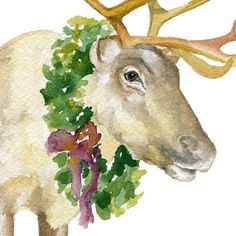 Christmas Reindeer watercolor giclée reproduction. Portrait/vertical orientation. Printed on fine art paper using archival pigment inks. This quality printing allows over 100 years of vivid color in a