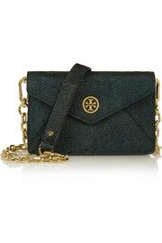 Tory Burch Brittany metallic lizard-effect leather shoulder bag