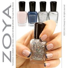 Nail the Look - Double French Manicure with Polka Dots created by one of Japan's Top Nail Artists! Zoya Nail Polish in Kennedy, Natty, Electra and Trixie used - Click through for step by step instructions on how to get the look!