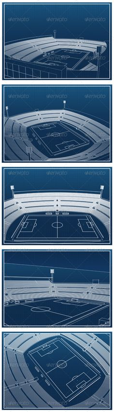 Soccer Stadium Blueprints  #GraphicRiver
