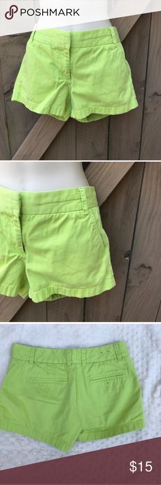 J. Crew chino shorts neon green size 4 Size 4 neon green J. Crew chino shorts: BIN 1 J. Crew Shorts