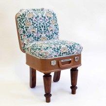 Suitcase Chair - Tan Linen Birds – Recreate
