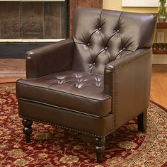 Christopher Knight Home Malone Brown Leather Club Chair | Overstock.com Shopping - The Best Deals on Living Room Chairs