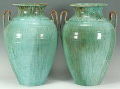Large Pr. Of Chinese Glaze Nc Pottery Waymon Cole