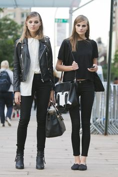 Left outfit: sleek hair (put little gel on top of hair), white blouse - half tucked in jeans, black skinny jeans, black boots heels, leather jacket