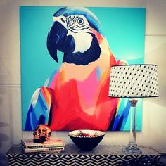 Macaw just livin it up with lamp and bowl at @fenton_and_fenton #anyabrock