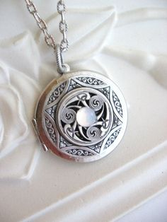 Triskele, LOCKET, Silver Locket Necklace,Celtic Pendant,Moonstone Locket,Lockets,Celtic Jewelry,Pagan Jewelry,Celtic Necklace,Irish Jewelry,...