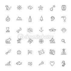 Conjunto de iconos de piratas — Ilustración de stock #115748784