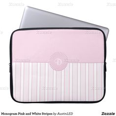 Monogram Pink and White Stripes Computer Sleeve Designed by AustinLED on www.zazzle.com/austinLED*/.