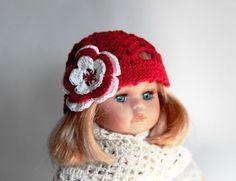 Puppenmuetze-17-19cm-Kopfumfang-NEU-Handarbeit-Sommermuetze-Haekelblueme-Doll-Hat