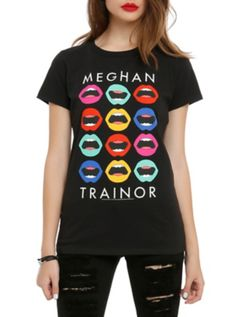 Fitted black tee from Meghan Trainor with multi color mouths design on front. 100% cotton Wash warm; dry low Imported Listed in junior sizes