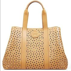 Tory Burch Ella Perforated Tote Bag Authentic. Brand new. NO TRADE. Final sale. Pls ask questions before purchasing. Tory Burch Bags Totes