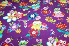 Blank Quilting Hoot Loves You Eulen Owls purple von Stoff-Zaubereien auf DaWanda.com
